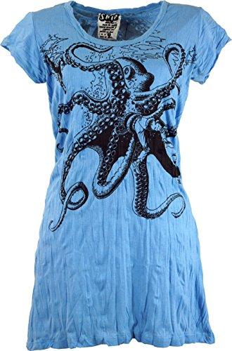 Guru-Shop Sure Long Shirt, Minikleid Krake, Damen, Hellblau, Baumwolle, Size:M (38), Bedrucktes Shirt Alternative Bekleidung