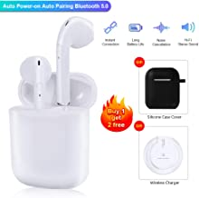 Bluetooth Headphones QI Wireless Charging True Wireless Earbud with 500mAh Charging Case Earphones with HiFi 3D Stereo Sound and Built-in Mic in Ear Headset for iPhone Samsung Apple AirPods an AirPod