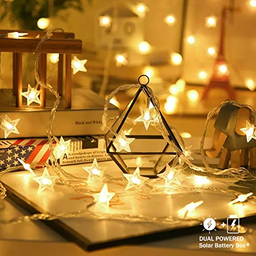 E-POWIND Outdoor Fairy Star String Lights 100 LED Solar Battery Operated Indoor Twinkle Stars String Lights for Christmas Thanksgiving Kids Girls Bedroom Curtain Camp Tent Patio Tree Decor, 39ft Warm