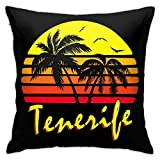 yukaiwei1 Cushion Cover Tenerife Vintage Sun 45X45Cm Pillowcase Decorative Cozy Throw Pillow Covers Home Couch Cushions Bed Sofa Couch Personalized Durable Zipper Bedroom Living Quarters Par