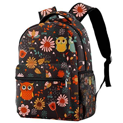 Cute Cartoon Animal Forest Owls Floral Backpack School College Bag Bookbag Hiking Travel Rucksack for Women Men