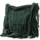 Ital. Borsa a tracolla in pelle Frans borsa tracolla donna borsa in pelle scamosciata T125, Colore:verde scuro