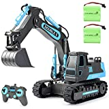 DOUBLE E Remote Control Excavator Toy Trucks 2 Batteries 8 Channel Engineering Construction Trucks 2.4Ghz Digger Toy for Boys Girls Kids 4 5 6 7 8 9 10 Years