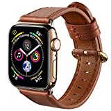 Genuine Leather bands Compatible with Apple Watch Band Strap iWatch Series 6 5 4 3 2 1 SE 38mm 40mm 42mm 44mm (42mm, Brown Band/Golden Clasp)