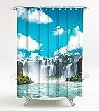 Duschvorhang Wasserfall 180 x 200 cm, hochwertige Qualität, 100prozent Polyester, wasserdicht, Anti-Schimmel-Effekt, inkl. 12 Duschvorhangringe