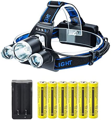 LED Headlamp Flashlight Kit with 6PCS 3 7V High Capacity Rechargeable 18650 Battery Batteries product image