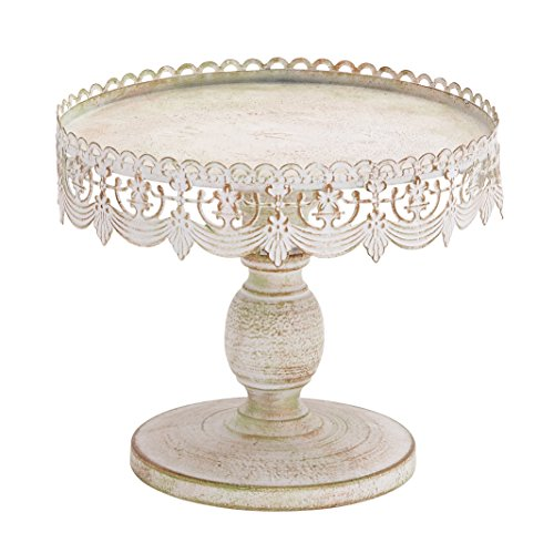 "Antique Style Round, Distressed White Metal Cake Stand with Pierced Metal Designs, 10"" x 9"""