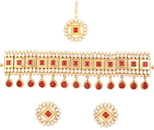 Touchstone Indische Bollywood Wunsch klassische und traditionelle Kundan Polki Look Faux Rubin Designer Schmuck Choker Halskette Set für Damen rot