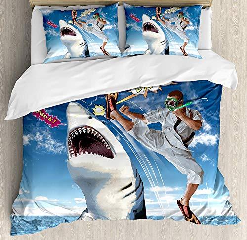 XINGAKA Juego de Funda nórdica Sealife, Tiburones de Peces de la Marina Marina Inusual con Arte de Globos de Karate Kid y cómics, Juego de Cama Decorativo de 3 Piezas con 2 Fundas de Almohada