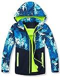 Mallimoda Boys' Waterproof Hooded Jacket Zipper Up Rain Coat Style 1 Green 7-8 Years