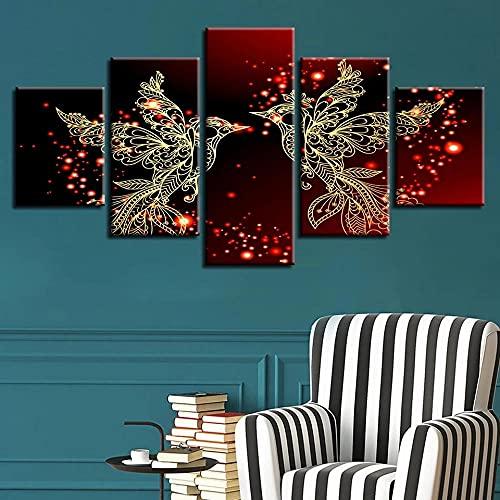 HGFDS Cuadros Modernos Impresión de Imagen Artística Digitalizada Fotos de pajaritos Rojos...