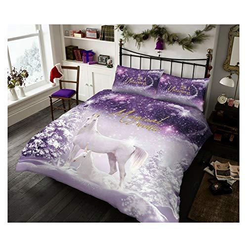 FAIRWAYUK Unicorn Bedding Set, 3D Duvet Cover Set with Pillowcase, Reversible Quilt, Single Bed Size, Super Soft