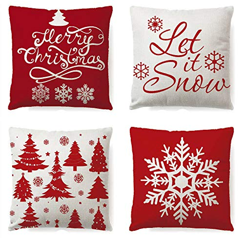 LYNKO Christmas Snowflake Throw Pillow Covers 18 x 18 Inches Set of 4 Decorative Cushion Cases Xmas Winter Holiday Decora Pillowcase