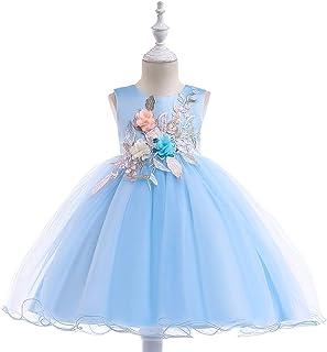 Vestido de princesa de las niñas Vestido de niña de las muchachas del vestido de la falda de hojas de flor neta del hilado...
