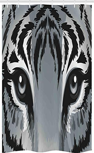ABAKUHAUS Auge Schmaler Duschvorhang, Tiger Sharp Augen Wildtiere, Badezimmer Deko Set aus Stoff mit Haken, 120 x 180 cm, Weiß Schwarz Grau