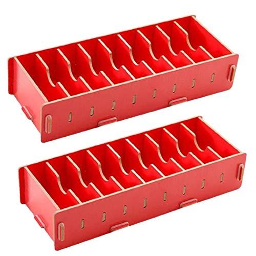 カード収納 カード立て 小物入れ 2点セットトレーディングカード 名刺スタンド 木製 整理箱 名刺スタンド 卓上収納ラック オフィス 文房具 【MIU&RMH】 (レッド)