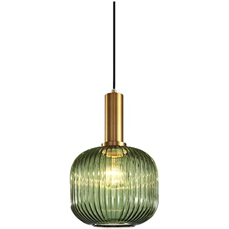 HJXDtech - Suspension Luminaire Industrielle Vintage en Verre Nervuré,Plafonnier avec fini en laiton poli Lustre,Suspension Lampe de Salle à Manger Cuisine Salon Chambre (Vert, 20CM)