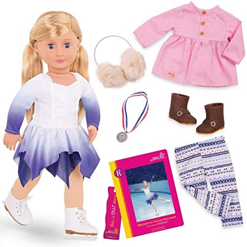 Our Generation Katelyn Deluxe 18 Inch Doll with Book and Skating Outfit