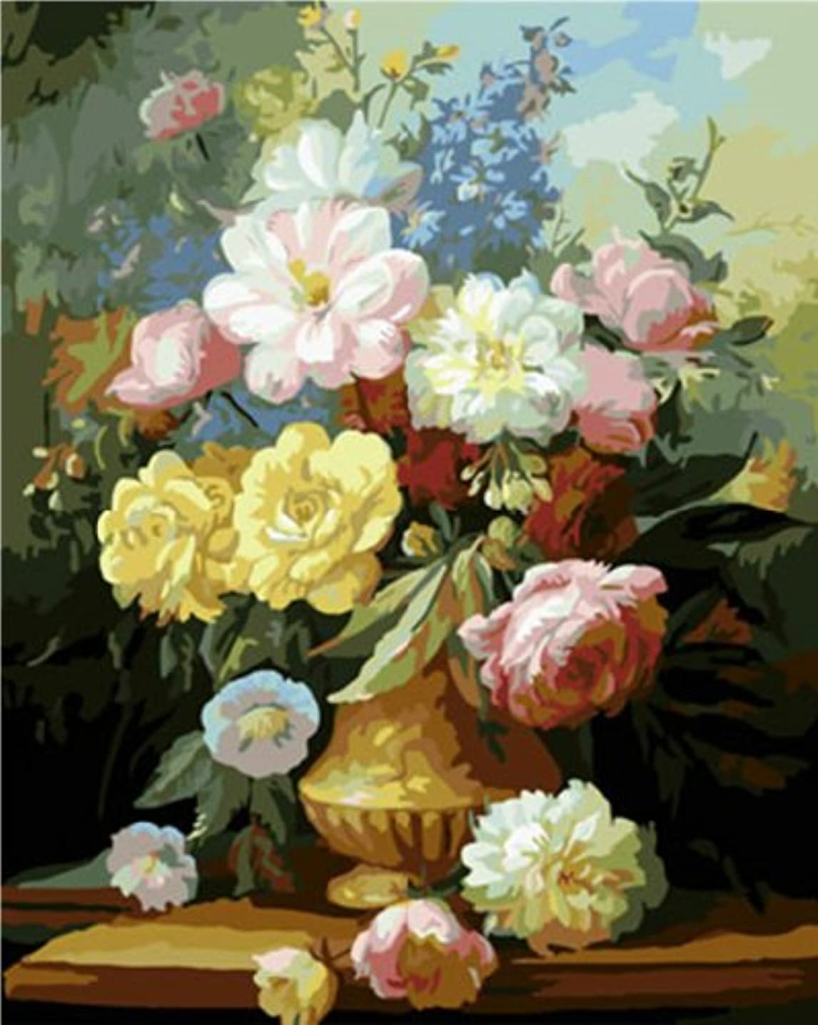 Diy oil painting, paint by number kit- Elegant Flowers 16x20 inch