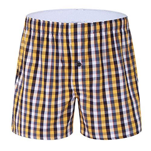 IFOUNDYOU Shorts Herren Schlafanzug, Schlafanzughosen Kurze Unterwäsche Freizeit Haushalt American Style Retro Boxer Weich Unterhosen Karierte Baumwolle Billige
