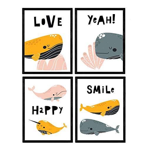 Pack de cuatro posters con ilustraciones de ballenas. Láminas con imágenes infantiles de ballenas. Ballenas de colores rosa naranja y gris con mensajes positivos. Tamaño A3 sin marco…