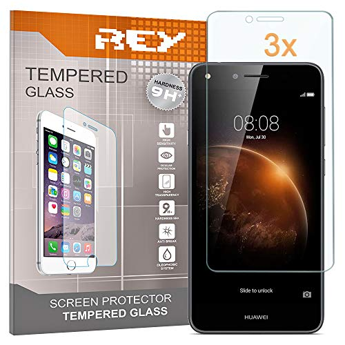 REY 3X Protector de Pantalla para Huawei Y6 II Compact, Cristal Vidrio...