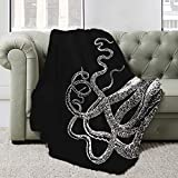 Astede White Octopus Tentacles Black Vintage Sea Ocean Squid Kraken Blanket for Bed Couch Sofa Super Soft Lightweight Travelling Camping Throw All Season 80'X60' for Adults