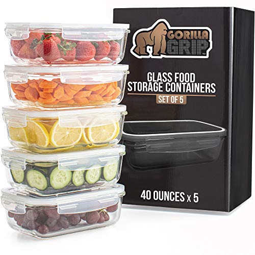 Gorilla Grip Premium Leakproof Glass Food Storage Canisters, 5 Pack 40 oz Size with Airtight Lids, Holds 5 Cups, Good for Dishwasher, Food Saver Container for Fridge, Meal Prep, Commercial Grade
