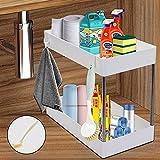 Under Sink Organizer and Storage, Under Bathroom Sink 2 Tier Organizer Bath Collection Baskets with Hooks, Under Sink Organizer Shelf Rack, Multi-use Under Sink Storage for Bathroom Kitchen