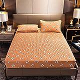 CYYyang Protector de colchón de bambú Funda de colchón y Ajustable Una Sola Pieza de sábana gruesa-15_90 * 190cm