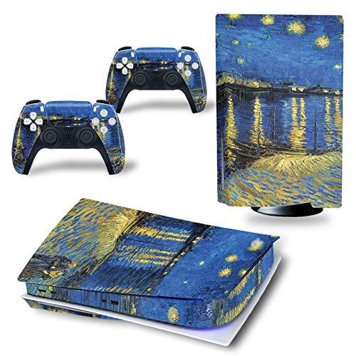 LUONE para PS5 edición Digital, Pegatina de Piel Fantasy Star Air Pegatina de Moda, Pegatinas de Vinilo, Cubierta para 2 Controladores y Consola Playstation 5,I