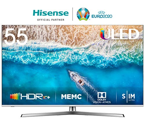 "Hisense H55U7B, Smart TV ULED 4K Ultra HD, Dolby Vision HDR, HDR 10+, Audio Dolby Atmos, Ultra Dimming, 802.11ac, Dual-Band (2.4G and 5G) Ethernet RJ-45 HDMI USB Bluetooth, 55"", Negro/Gris Metalizado"