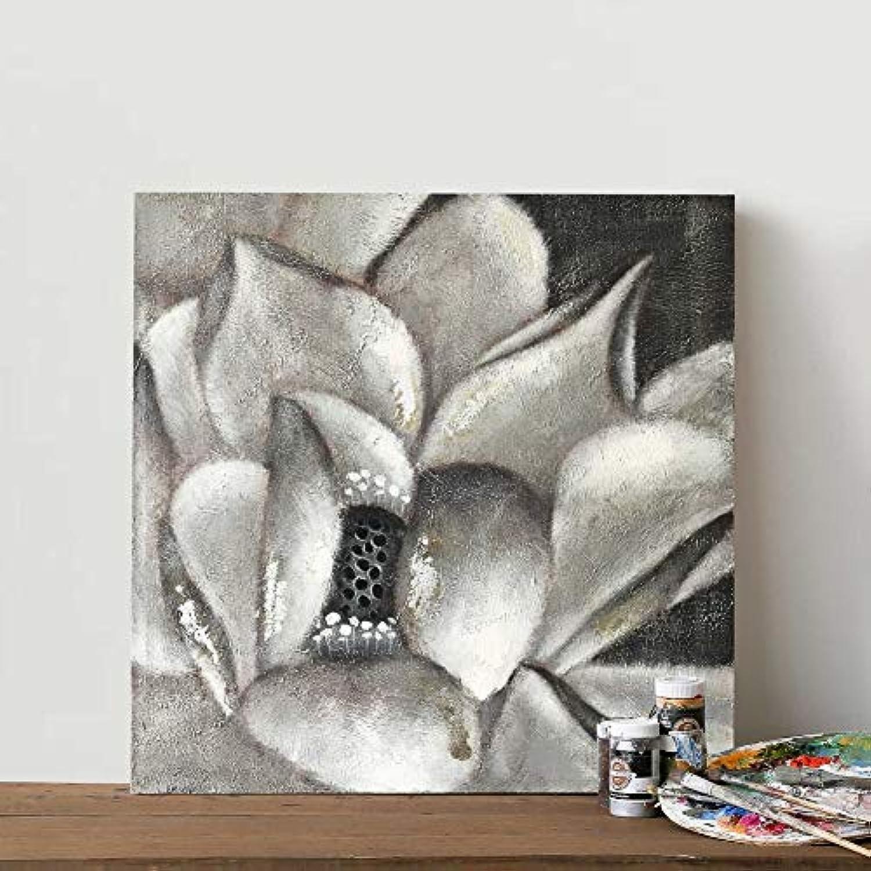 ¡envío gratis! WunM Studio Pintura Al óleo Pintada A Mano sobre sobre sobre Lienzo,Pintura Abstracta Moderna gris, Flor De Loto Minimalista Nórdico Gran Arte Decoracion para Dormitorios Salón Oficina Regalos Adultos,50 X 50 Cm  orden en línea