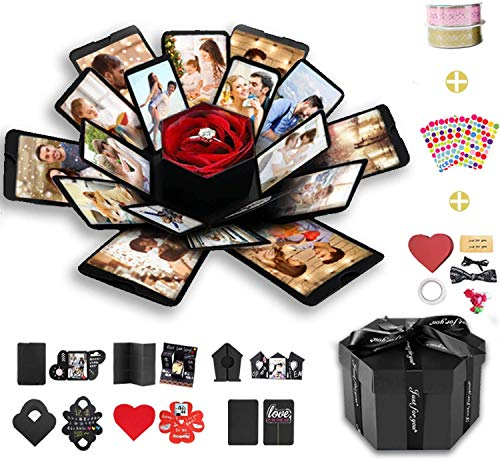 Wanateber Explosion Box, DIY Explosion Gift Box with 6 Faces, Assembled Handmade Photo Box for Birthday Gift, Anniversary, Valentine's Day, Wedding (Black)