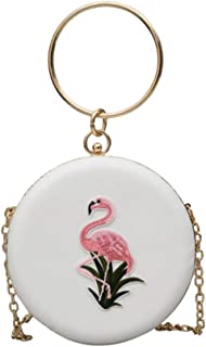 FENICAL Embroidered Crossbody Bag with Chain Top Handle Round Clutch Women Handbag Flamingo Shoulder Bag for Party Wedding and Prom(White)