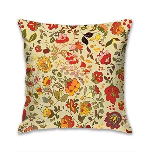 Aoyutiy Kussensloop, decoratieve kussensloop, motief Square, afmeting 18 x 18 inch, bloemenmotief, seamless