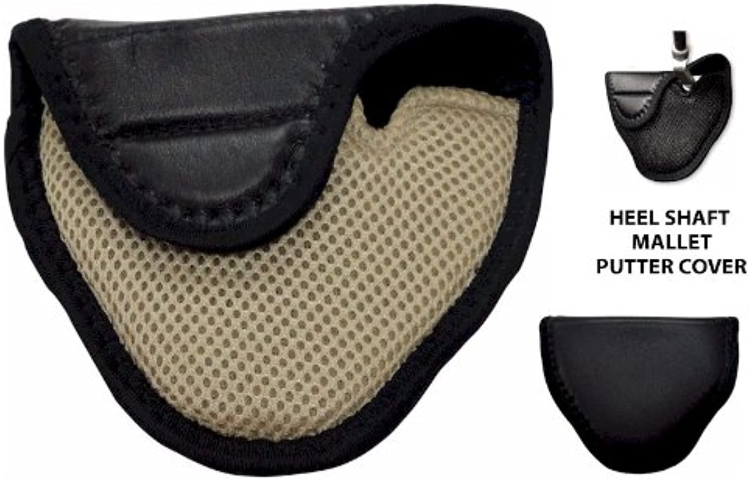Synthetic Leather Mallet Putter Cover for Heel Shafted Putters (Left Handed, Beige) by JP Lann