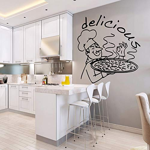 Tianpengyuanshuai Deliziosi Adesivi murali Pizza Decalcomanie in Vinile Creativo Personalizzato Cucina Camera murale Decalcomanie Commerciali -85x91cm