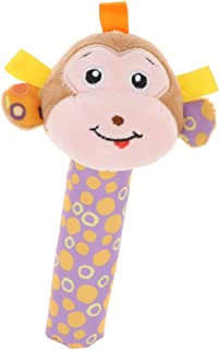 Generic Cute Stuffed Animal Baby Soft Plush Hand Rattle Squeaker Stick Toy - Monkey, as described