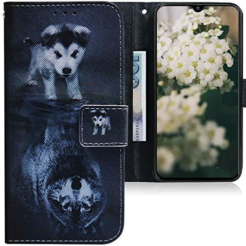 CLM-Tech Hülle kompatibel mit Samsung Galaxy A40 - Tasche aus Kunstleder - Klapphülle mit Stand & Kartenfächern, H& Wolf schwarz weiß