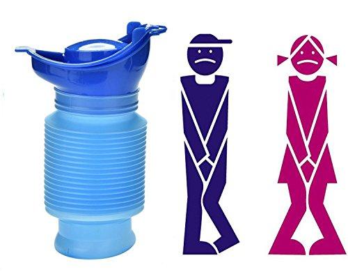 tobe-u reutilizable de emergencia mingitorio portátil Shrinkable Personal funda para inodoro orinal orina botella para niños adultos Camping viaje en coche (750 ml)