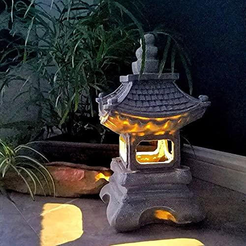 Luces Solares de Jardín Estilo japonés Solar Zen Jardín Luces Linterna Pagoda Luz solar Lámpara de jardín Estatua, Pagoda de estilo japonés / Lámpara de jardín solar, al aire libre Lámpara de jardín,