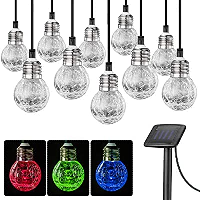 SUNWIND Solar Globe String Lights Outdoor 19ft 10LED Solar Cracked Glass Ball Color Changing Waterproof for Fairy Garden, Patio, Wedding, Party, Christmas and Holiday Decorations