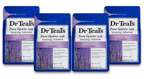Dr Teal's Epsom Salt Soaking Solution, Soothe & Sleep, Lavender, 4 Count - 3lb Bags, 12lbs Total