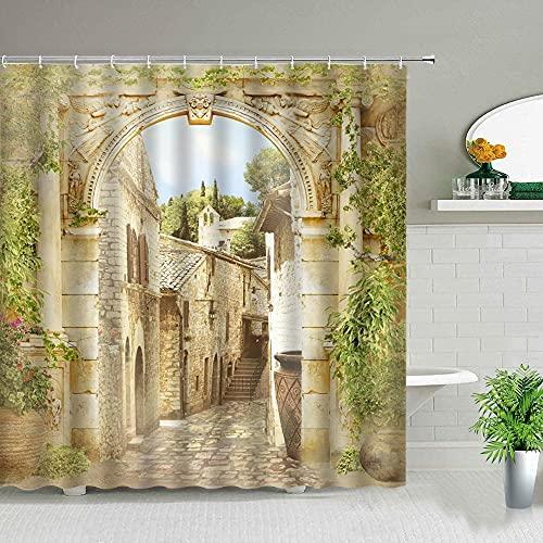Tenda da doccia paesaggistica architettura americana strada giardino vite paesaggio stampa decorazione schermo bagno S.18 150x200cm