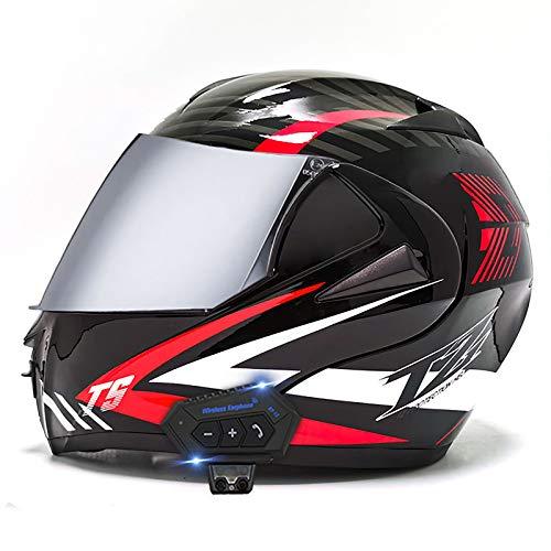 ZLYJ Casco Plegable Delantero con Bluetooth para Motocicleta, Aprobado por ECE, Casco Ligero para Motocicleta, Casco Modular De Choque, Cascos De Motocross D,S
