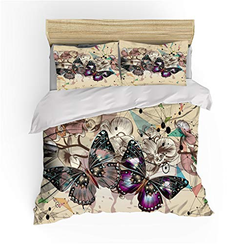 HNHDDZ 3D Butterfly Painted Bedding Set for Kids Boys Girls Single Bed Purple Green Khaki Black Pink Quilt Cover 135x200 + 1 Pillowcase 50x75, Polyester Duvet Cover Set With Zipper