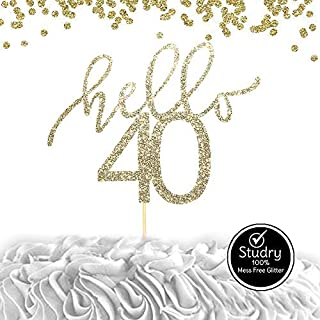 Hello 40 Glitter Cake Topper - Smash Cake Topper, 40th Birthday Cake Topper for photo booth props, Glitter cake decorating supplies, Forty Birthday, Any Age Cake Topper (HELLO 40TH)