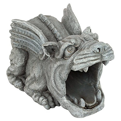 Design Toscano QM7512079 Roland the Gargoyle Gutter Guardian Rain Downspout Extension Statue, 10 Inch, Polyresin, Full Color,Dimensions: 10'Wx5.5'Dx5.5'H 3 lbs.