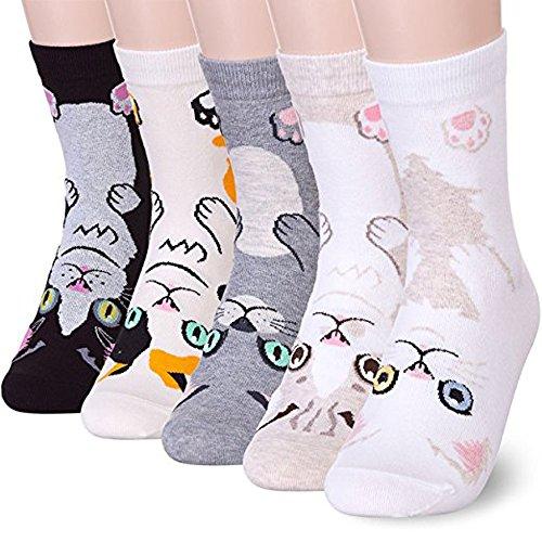 Damen-Socken mit Tiermotiv, niedlich, verrückt, bezaubernd & lustig, weiche Baumwoll-Socken für Frauen, Mädchen, Damen, Einheitsgröße, mehrfarbig